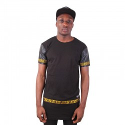 Longline Zip Leather Sleeves Tee Gold