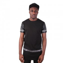Longline Zip Leather Sleeves Tee Silver