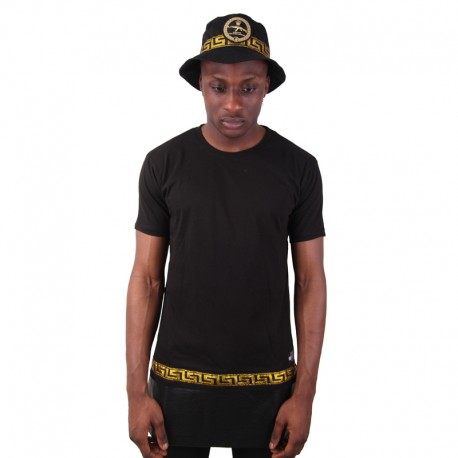 Longline Zip Leather Panel Tee Gold