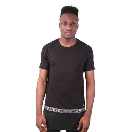 Longline Zip Leather Panel Tee Silver