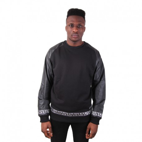 Crewneck Leather Sleeves Silver