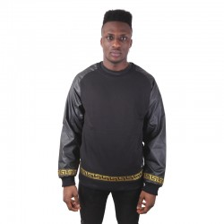 Crewneck Leather Sleeves Gold